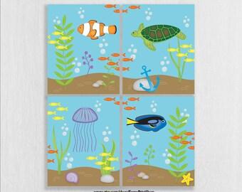 CANVAS Ocean Theme Nursery Decor - Under the Sea Nursery - Playroom Decor - Under the Sea Bathroom - Sea Theme Bathroom Decor