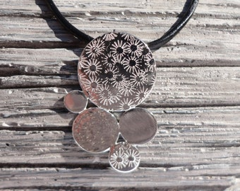 Sterling Silver Textured Pendant - Silver Stamped/Hammered Necklace - Silver Jewellery - Birthday Gift - Paisley Daze Designs