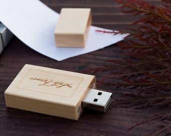 1 Engraved Maple Wood USB Flash Drive