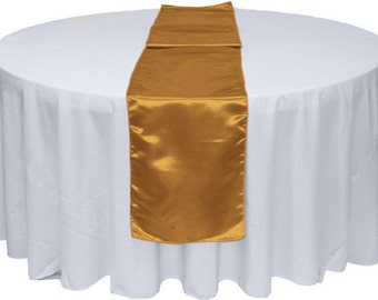 "1pc Gold 12"" x 108"" Satin Table Runner Wedding Party Banquet Decorations"