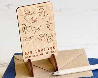 FATHERS DAY WOODEN Star Constellations Card Keepsake Token Gift Astronomy Dad Daddy Grandad Eco-Friendly Wood Wallet Size Space Map Unusual