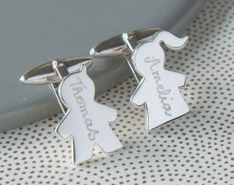 Father's Personalized Children Cufflinks Sterling Silver - Gift for fathers day, new dad, husband