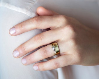 Unique Bridal Ring Set, Solid Gold Wide Wedding Band, Marquise Diamond Engagement Ring,  Solitaire Ring 14K Solid Gold Bridal Ring.