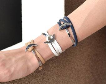 SALE // Surfer style stainless steel Anchor half cuff with leather or marine rope.