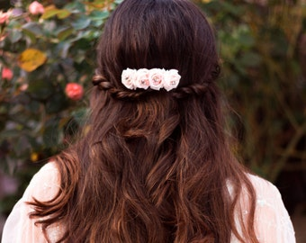 Elegant Floral Goddess Wedding/ Festival Boho Hair Slide Clip with Flowers, Diamantes, Pearls