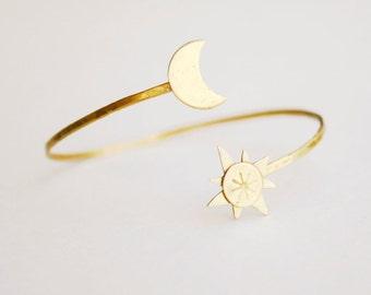 Soleil lune bracelet, bracelet en laiton, bijoux en or, bijoux en laiton, bijoux cadeau, cadeau pour elle, cadeau femme, bracelet en or, réglable, mariage