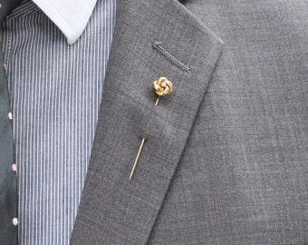 Lover's Knot Old Cut Diamond Stickpin - 10K Yellow Gold Love Knot, Tie Pin Lapel Pin Hat Pin, Men Women Unisex