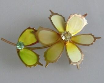 Metall Emaille Pin Brosche Vintage Strass Blume
