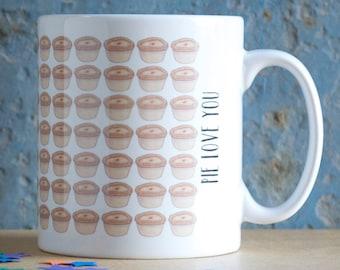 Pie Love You Mug - I love you mug - gift for boyfriend - gift for dad - gift for him - pie gift - pie lover gift - pork pie gift