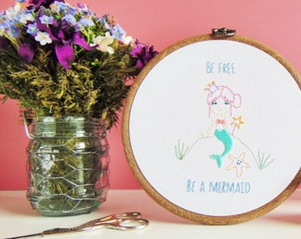 Mermaid Decor, Mermaid Gift, Quirky Gift For Her, Mermaid Home Decor, Girls Bedroom Decor, Mermaid Wall Decor / Ready Made Embroidery Hoop