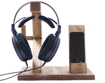 "Sound Dock: Headphone Stand XVI Headphone Station ""Bacchus"" + Smartphone Stand Mens Gift Christmas Present Gift Ideas for Men For Him"