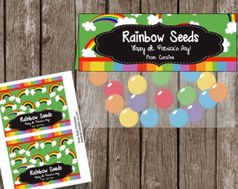 50% OFF SALE St. Patrick's Day EDITABLE Tags - Labels - Cards - Rainbow Seeds - Printable - Instant Download