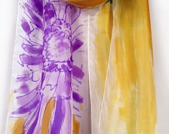 Hand painted silk scarf Lilac Dandelion. Silk scarf shawl painted, Luxury scarf shawl,OOAK. Bright colored abstract scarf. Painting on silk