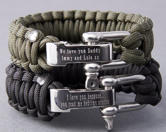 Personalised Paracord Survival Bracelet-engraved bracelet for men-survival bracelet for men-Father's Day gift-Paracord bracelet for dad