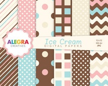Ice Cream Digital Paper - Chocolate Scrapbook Papers - Bakery - Light Blue, Brown, Pink, Vanilla - Instant Download - P026