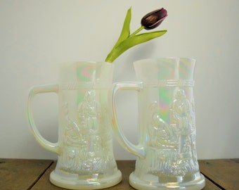 Beer Steins - Federal Glass, White Carnival Glass Mugs (Set of 2), Milk Glass Beer Steins