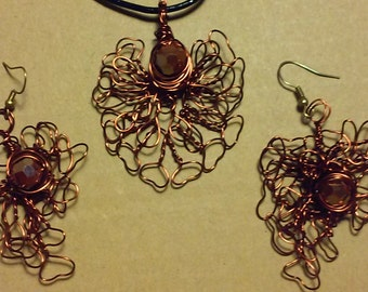 "Wire Jewelry Set, Handmade- Crystal, Copper, Design, Pendant Necklace (L- 18"")/Earrings (2"")"