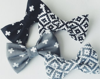 Black/Gray Geometric Bow Tie - Baby // Toddler // Child - Clip On