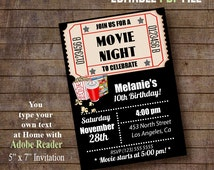 Movie Night Invitation, Printable Movie tickent invite, Instant Download invitation, Editable PDF file A939