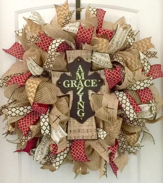 Christmas Decorations Religious: Cross Wreath Religious Wreath Christian Wreath Religious