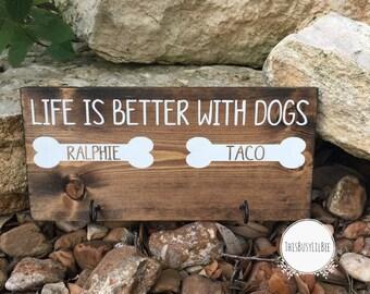 Custom Dog Leash Holder ~ Personalized Dog Leash Holder ~ Dog Sign ~ Dog Lover Gift ~ New Puppy Gift ~ Dog Leash Hook