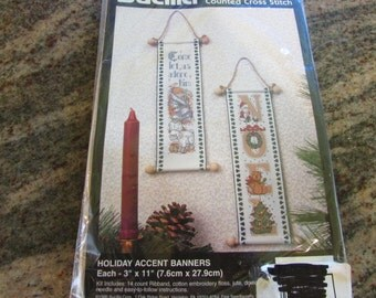 Bucilla Counted Cross Stitch Holiday Accent Banners