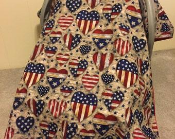 Patriotic Baby Car Seat Canopy