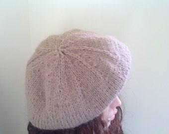 Chunky beret , neutral color floppy tam, Soft mohair and wool blend Chunky beanie.