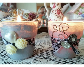 hand-painted, glass votive candleholders, black/silver