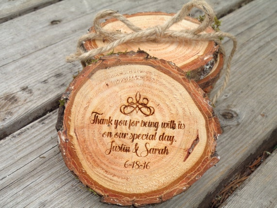 Personalized Country Wedding Gifts: Wood Slice Wedding Favors Rustic Personalized Country