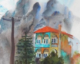 a house in Greece-original watercolor painting