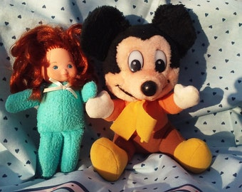"1980s 6.5"" Soft Toy Duo—Disney's Mickey Mouse Christmas Carol & Fisher Price ""Forget Me Not"" Doll"