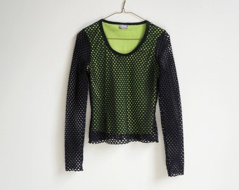 90s RAVE NEON GREEN and black netted long sleeved club kid top