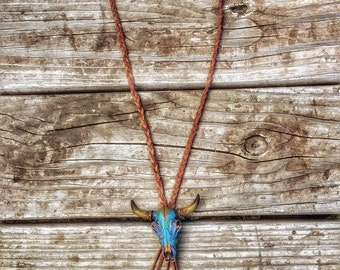 Cowskull Leather Tassel Necklace