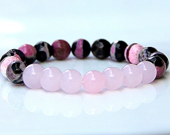 pink accessories gift for her Womens bracelet Yoga Bracelet Agate bracelet Agate Jewelry Gemstone Jewelry Healing Jewelry colorful bracelet