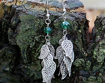 Woodland earring Leaf jewelry Green earring leaf earring Long earring Nature Jewelry  Woodland Jewelry Botanical gift Ideas dangle earrings