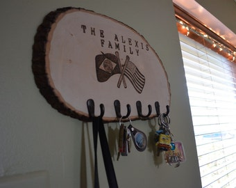 CUSTOM FLAG - Woodburned Key Holder