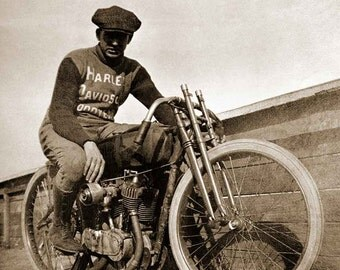 Harley Davidson vintage photo, print, poster motorcycle motordrome racing antique photograph 1920s biker gift