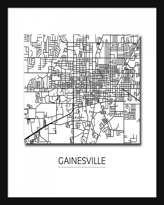 Gainesville Map Art Print Poster Gainesville Florida
