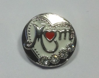 HEART MOM SNAP...20mm Snap Button...Silver on white..rhinestones