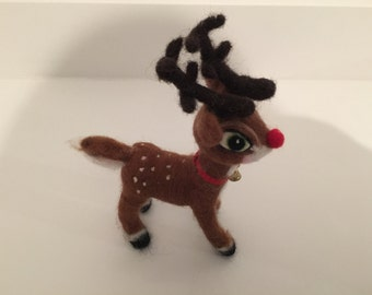 OOAK Needle Felted Wool Sculpture 'Reindeer'