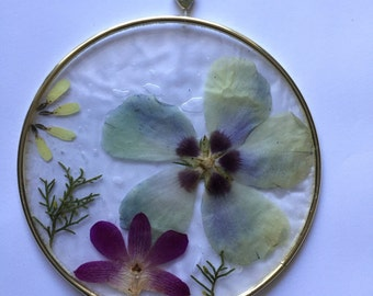 Hand-made Pressed Flower sun catcher