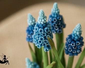 Porcelain clay muscari arrangement. Cold porcelain flowers. Clay muscari bouquet
