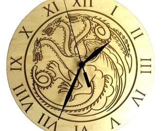 Game of Thrones Inspired House Targaryen Maple Wood Clock