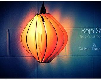 Böja Sfär Design Laser Cut Wooden Hanging Lamp Shade