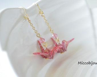 Origami Crane Earrings - Dark Pink