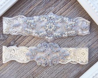 Ivory Lace Garter Set, Lace Wedding Garter Set, Bridal garter Set, Rhinestone Garter, Ivory Garter, Crystal Garter