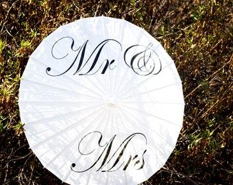 SALE - Wedding Paper Parasols for Wedding Pictures, Wedding Ceremony, Beach Wedding, Paper Umbrella, Mr & Mrs Parasol