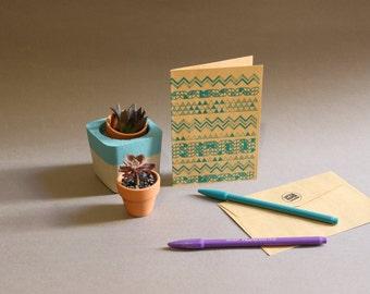 Geometric Silk Screen Greeting Card (green)