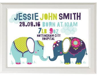 Bright Elephants Birth Announcement/Wall Art - DOWNLOADABLE PRINT - A4